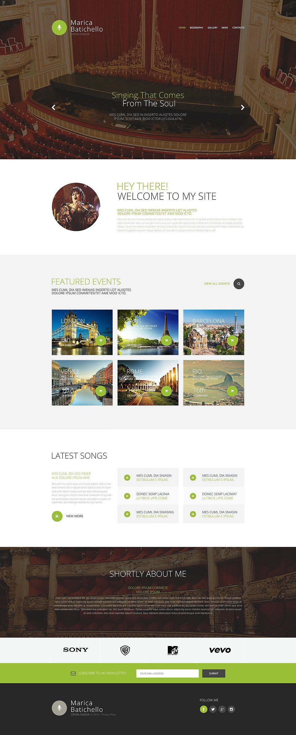 Opera Singer Website Template New Screenshots BIG