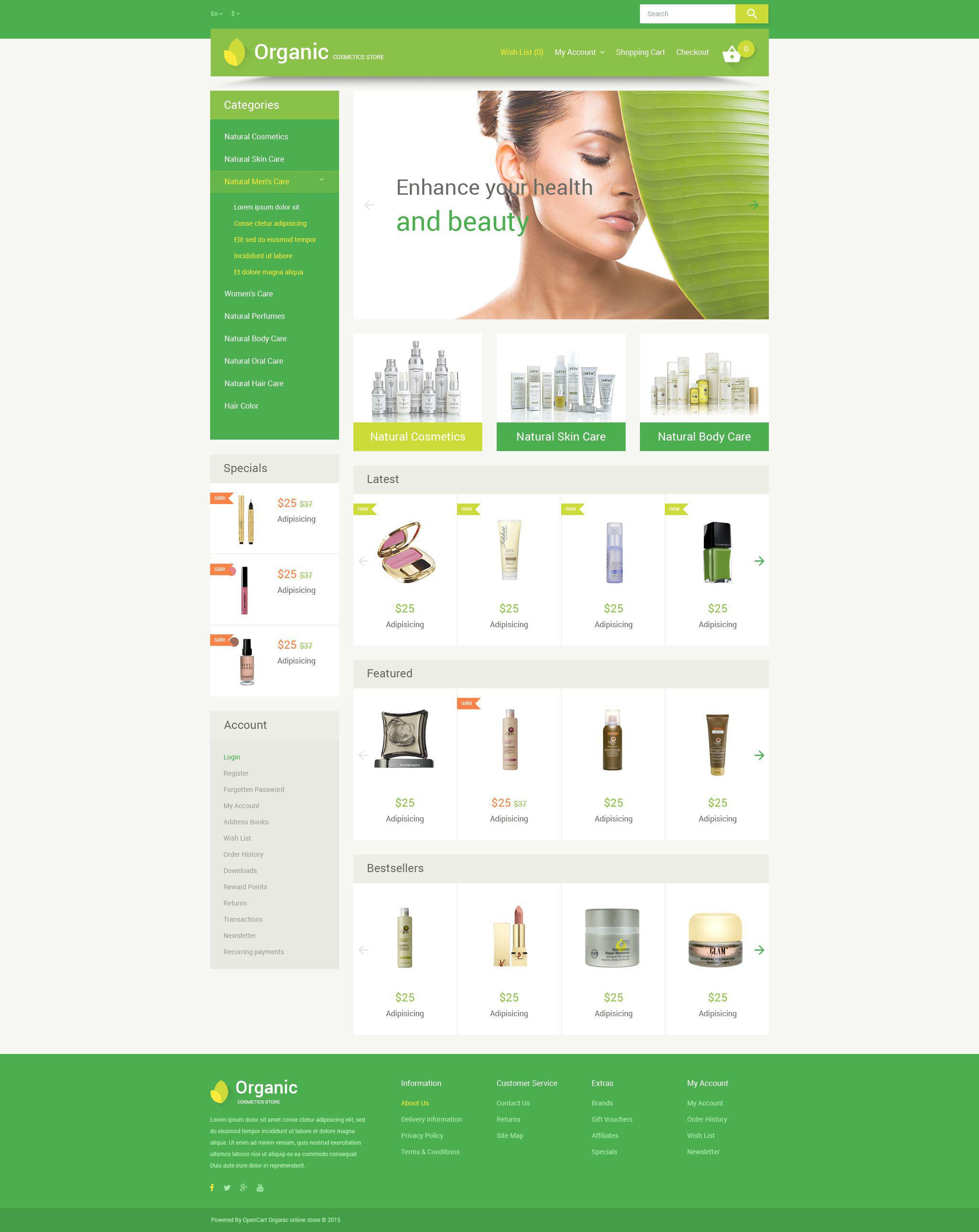 """Organic Cosmetics"" - адаптивний OpenCart шаблон №54591"