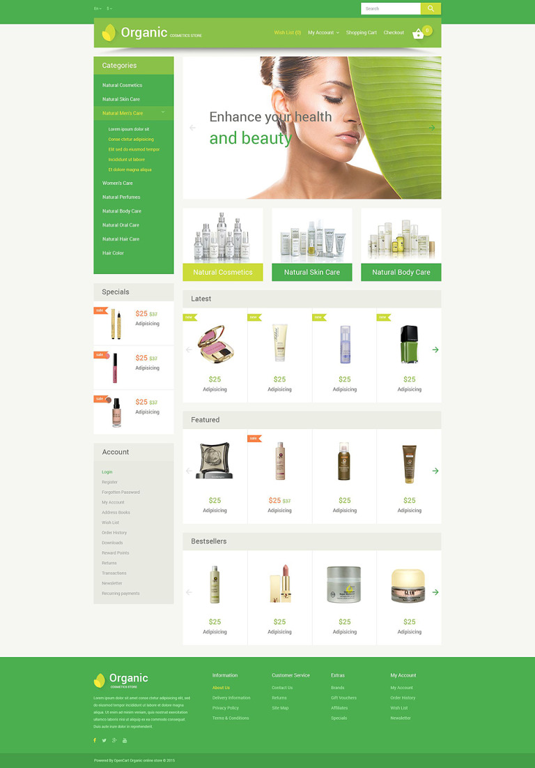 Organic Cosmetics OpenCart Template New Screenshots BIG