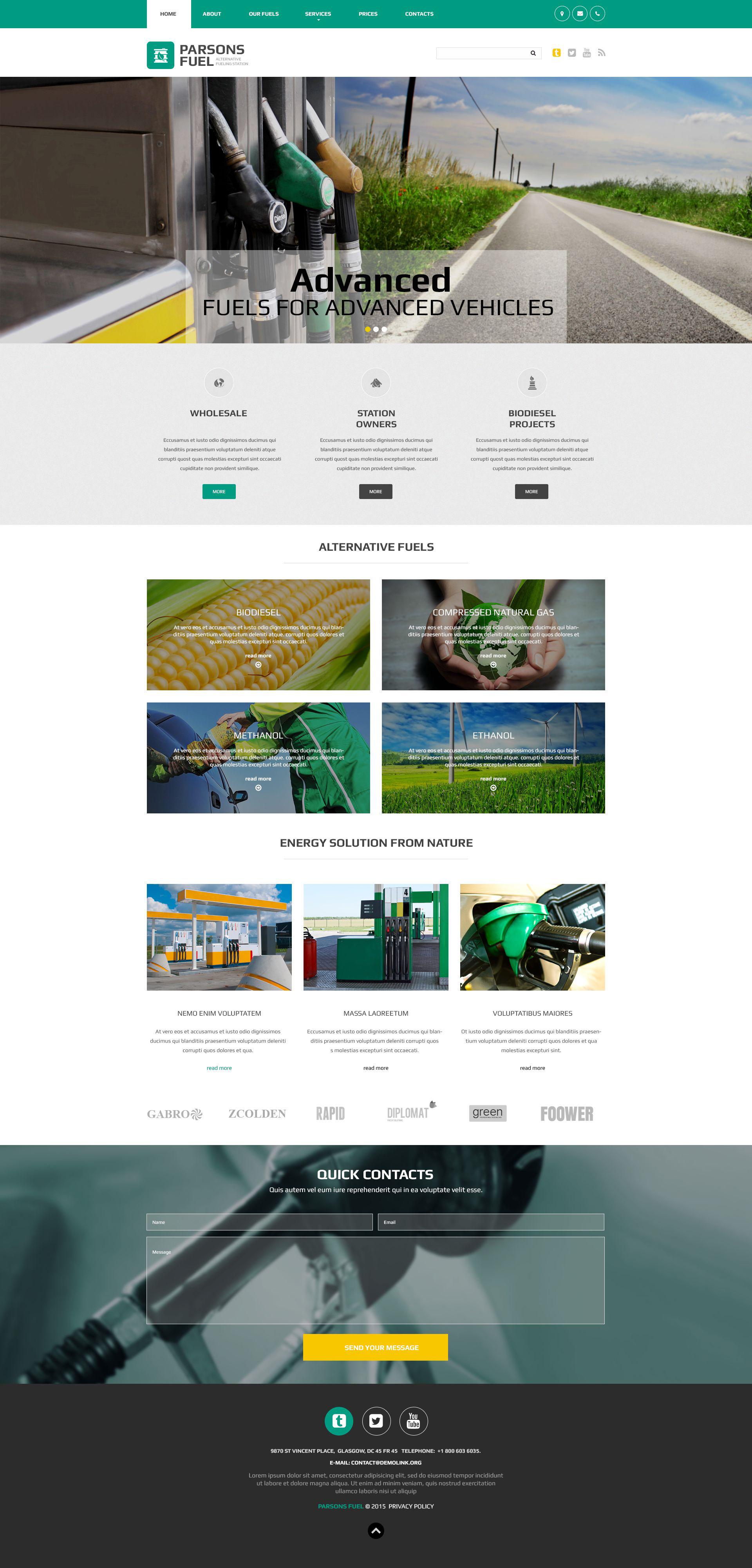 Parsons Fuel Website Template - screenshot