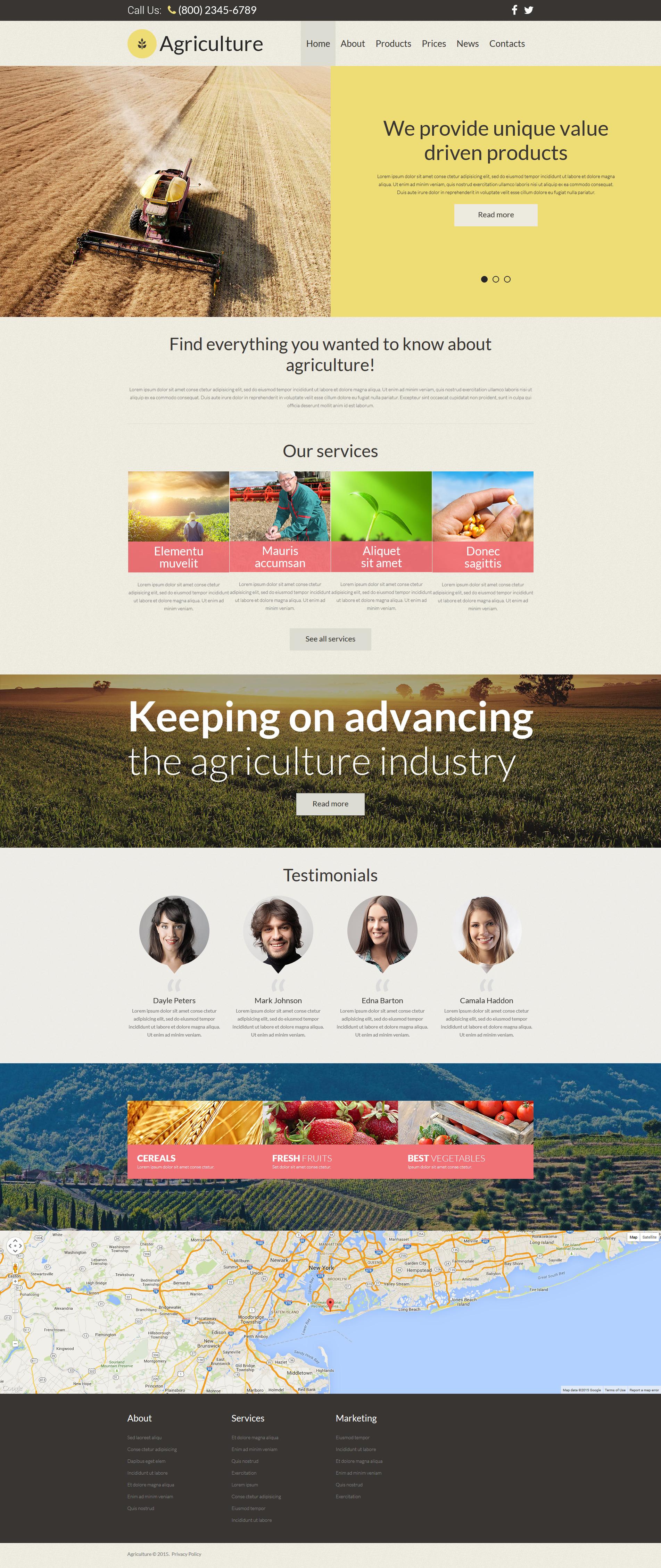 Plantilla Joomla Responsive para Sitio de Agricultura #54587