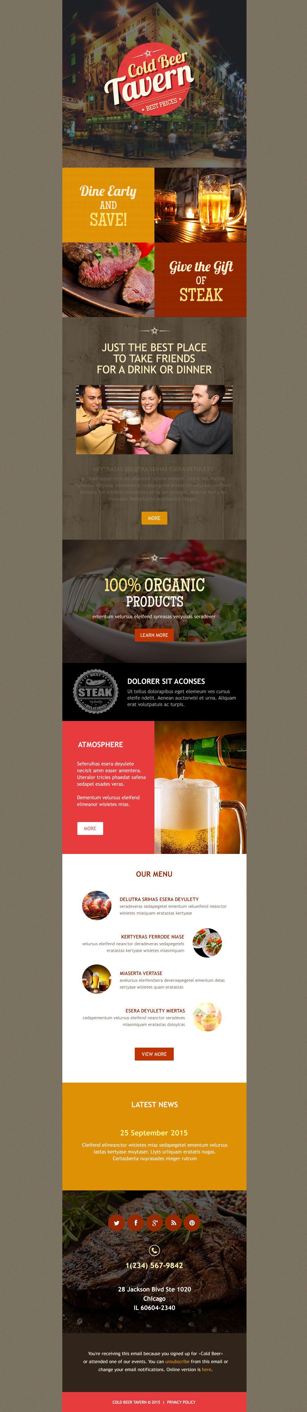 Responsive Newsletter Vorlage für Cafe und Restaurant #54588