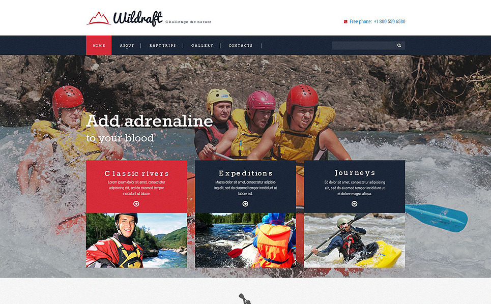 Responsive Website Vorlage für Rafting  New Screenshots BIG