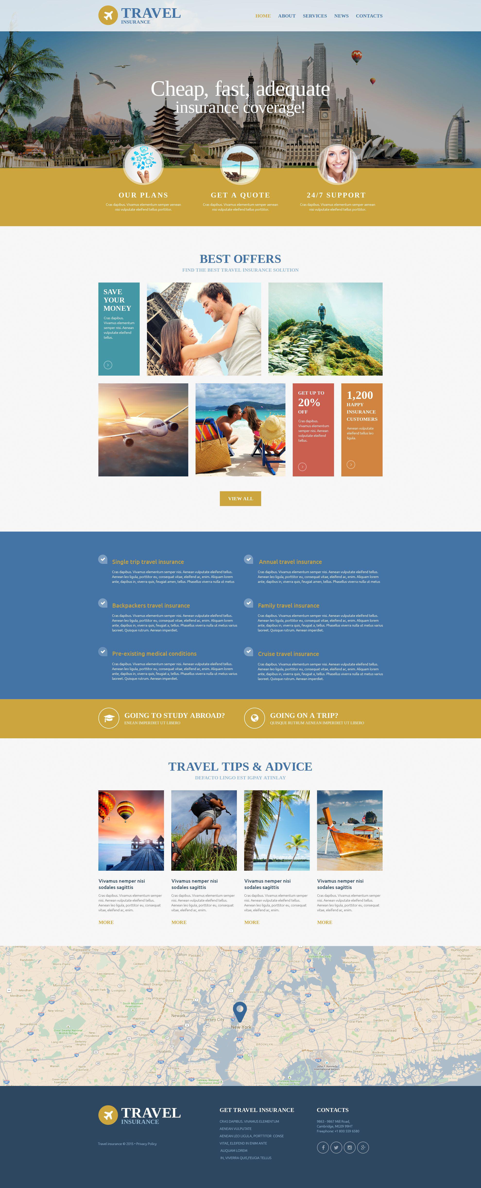 """Responzivní Šablona webových stránek """"Travel Insurance Agency"""" #54557"""