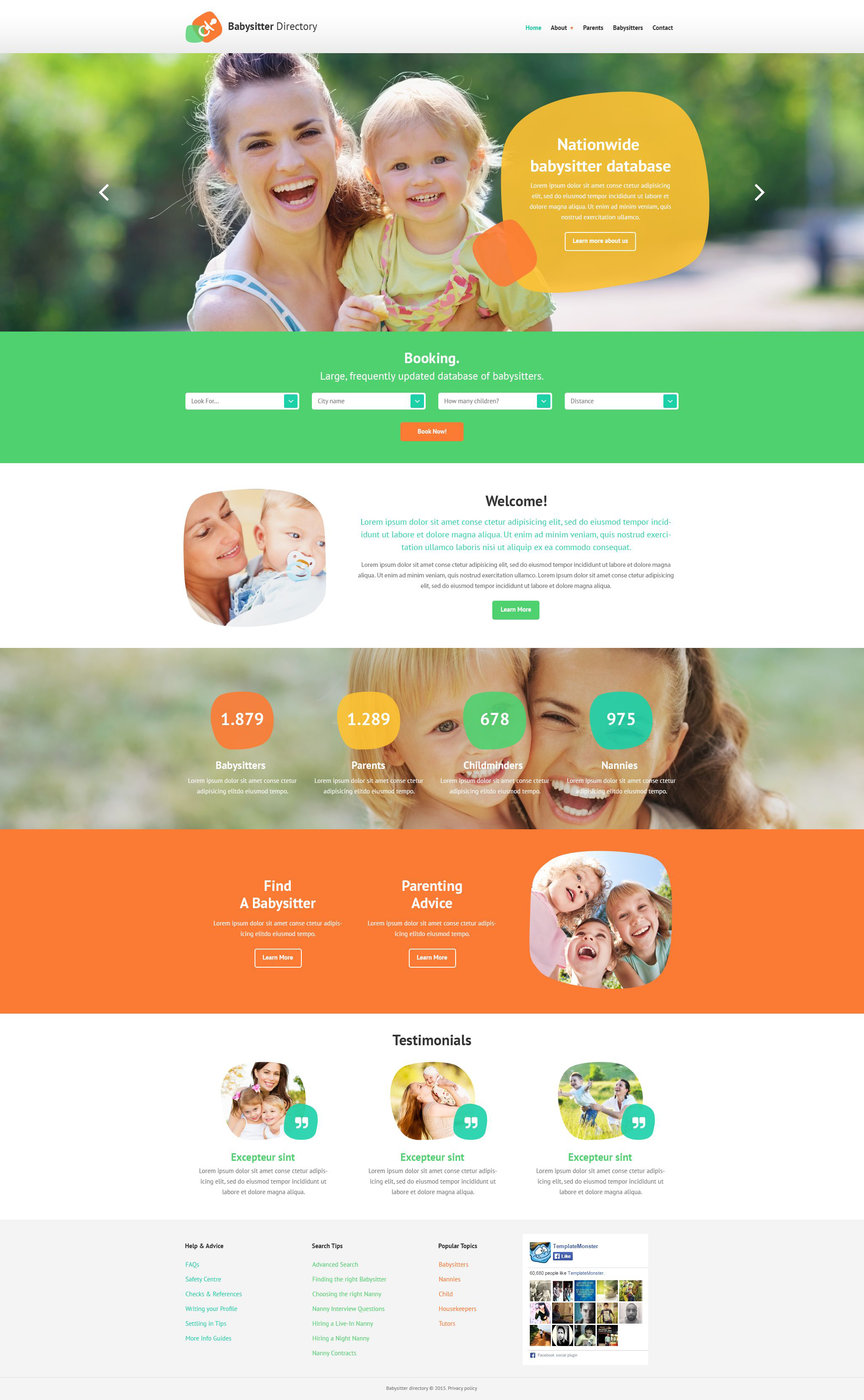 Reszponzív Babysitter Directory Weboldal sablon 54546
