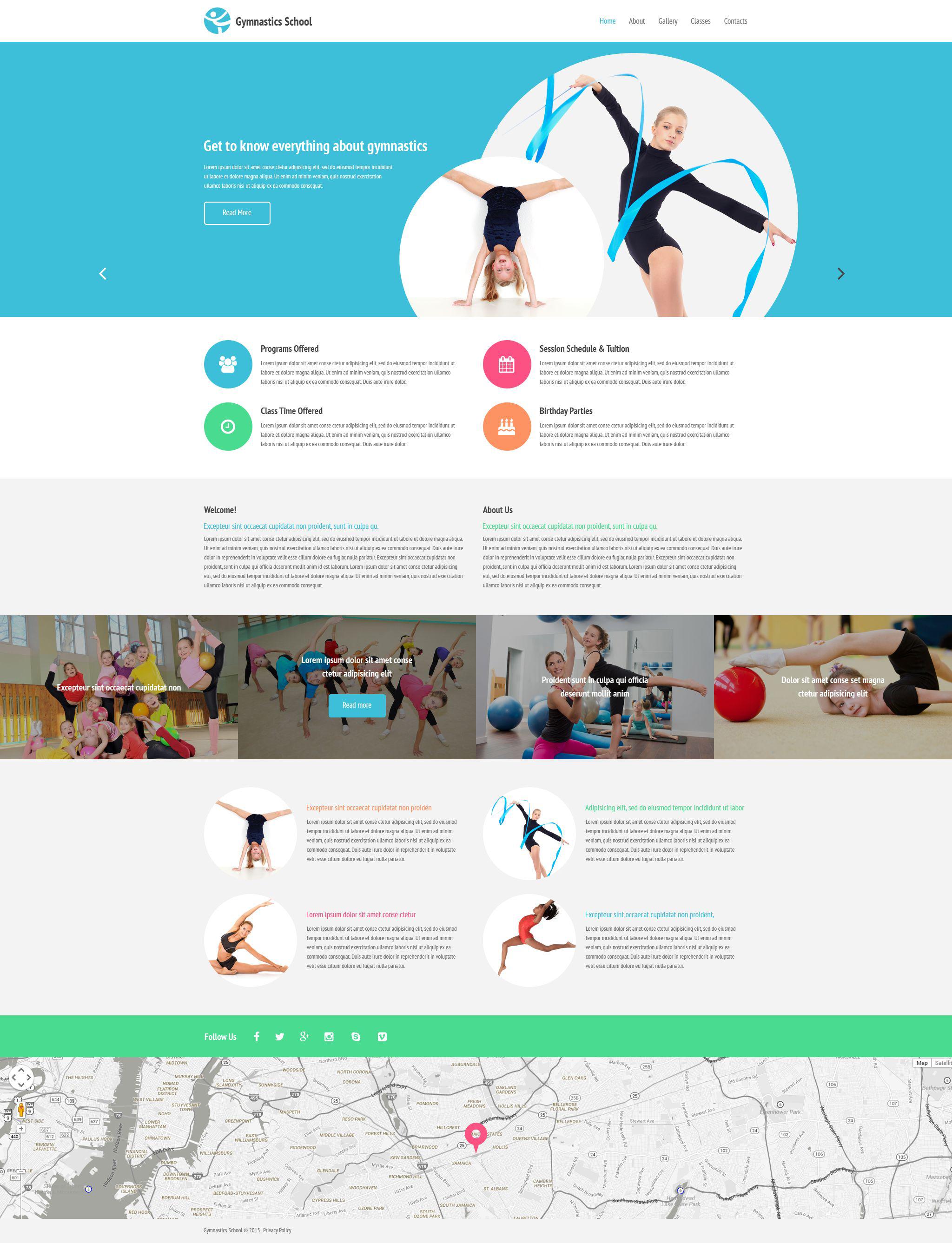 Reszponzív Gymnastics School Weboldal sablon 54544 - képernyőkép