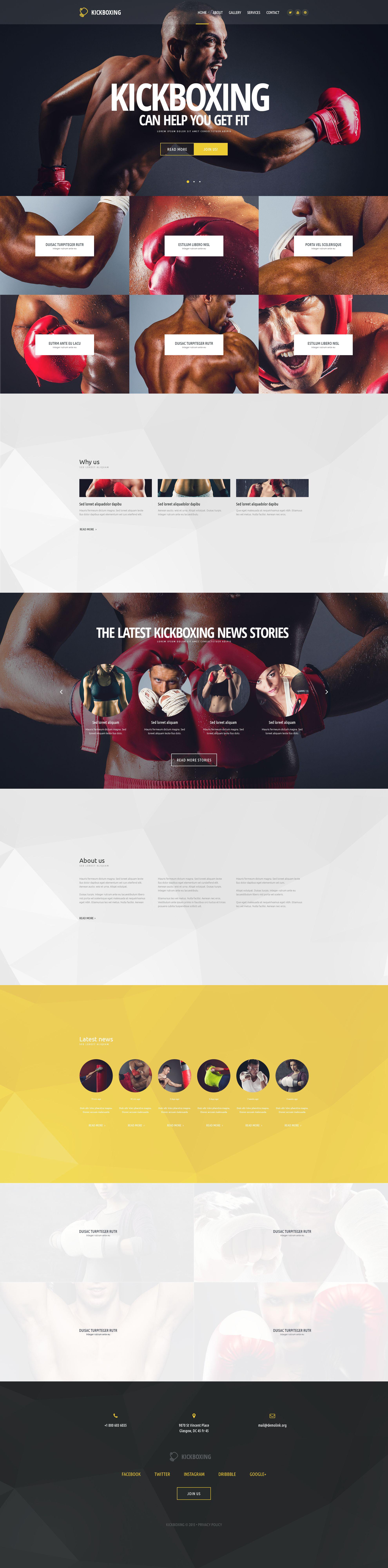 Reszponzív Kickboxing Weboldal sablon 54569