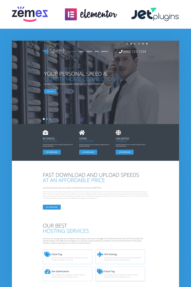 """Speed - Internet Theme with Elementor Builder"" 响应式WordPress模板 #54577"