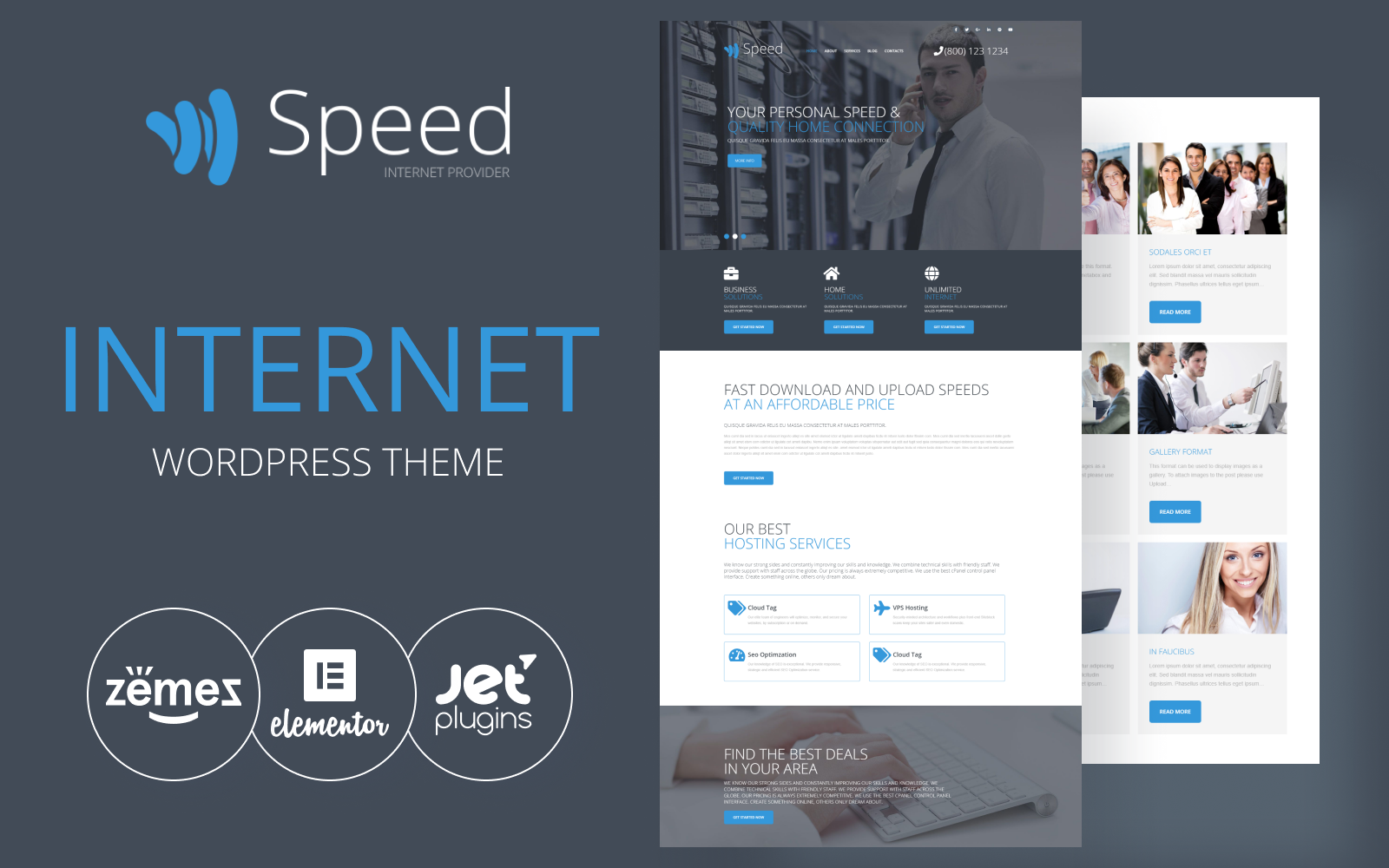 "Template WordPress Responsive #54577 ""Speed - Internet Theme with Elementor Builder"""