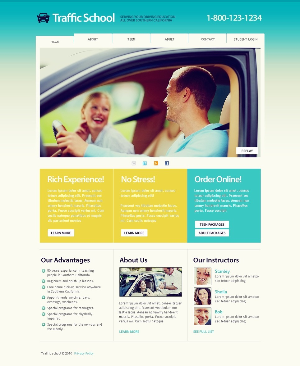Traffic School PSD Template New Screenshots BIG