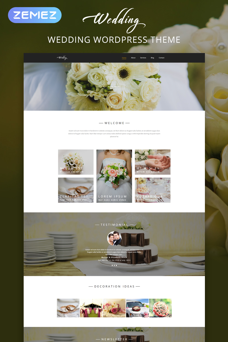 """Wedding - Wedding Salon Multipurpose Modern Elementor"" Responsive WordPress thema №54584 - screenshot"