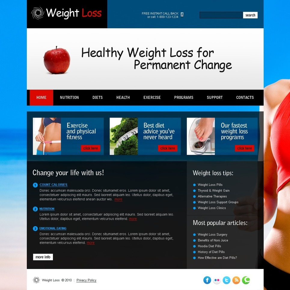 Weight Loss PSD Template New Screenshots BIG