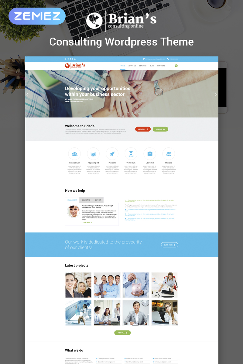 "WordPress Theme namens ""Brian's - Consulting Multipurpose Classic Elementor"" #54575"