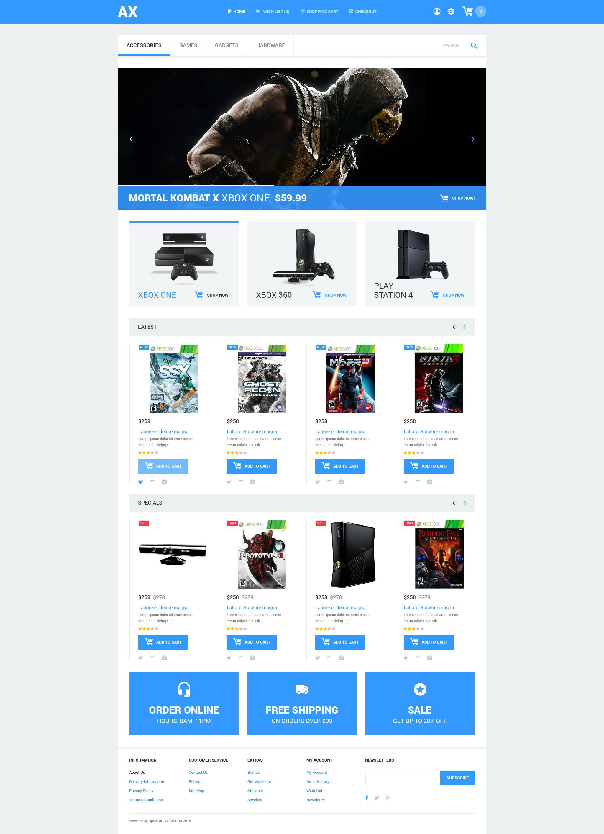 The Ax Games Store Portal OpenCart Design 54601, one of the best OpenCart templates of its kind (games, most popular), also known as ax games store portal OpenCart template, clan OpenCart template, online actions OpenCart template, adventures OpenCart template, driving OpenCart template, strategy OpenCart template, community OpenCart template, members OpenCart template, rules OpenCart template, strategy OpenCart template, stats OpenCart template, gamers OpenCart template, play OpenCart template, champion OpenCart template, tactics OpenCart template, behavior OpenCart template, equipment OpenCart template, entertainment club OpenCart template, gamer OpenCart template, computer OpenCart template, tournament OpenCart template, pc OpenCart template, action OpenCart template, rpg OpenCart template, 3D graphics OpenCart template, counter-strike OpenCart template, webmaster and related with ax games store portal, clan, online actions, adventures, driving, strategy, community, members, rules, strategy, stats, gamers, play, champion, tactics, behavior, equipment, entertainment club, gamer, computer, tournament, pc, action, rpg, 3D graphics, counter-strike, webmaster, etc.