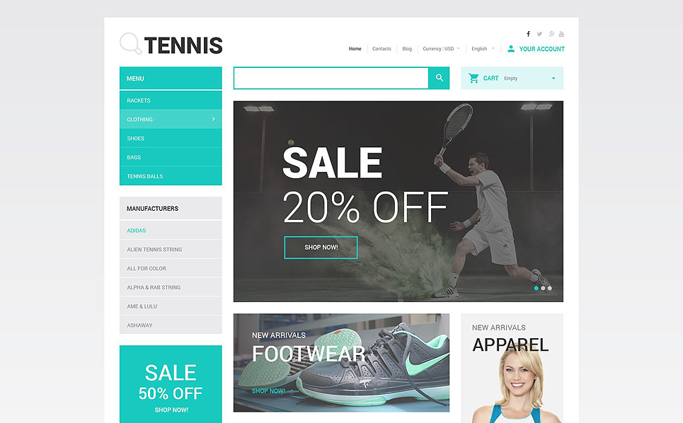 "PrestaShop Theme namens ""Tenniszubehör Online-Shop"" New Screenshots BIG"