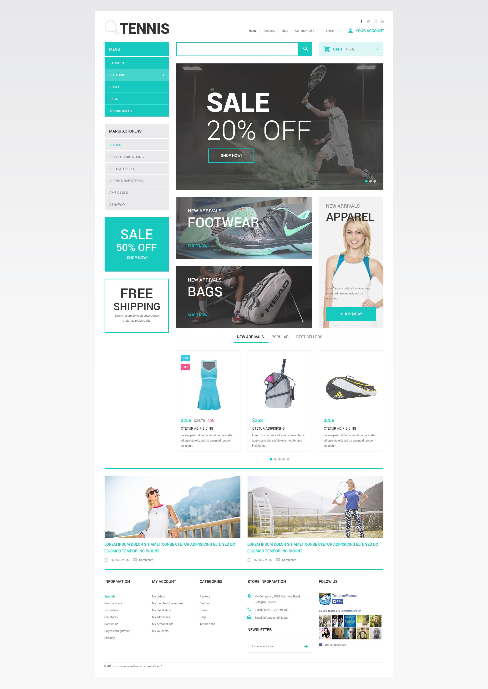 The Tennis Time Store PrestaShop Design 54621, one of the best PrestaShop themes of its kind (sport, most popular), also known as tennis time store PrestaShop template, shoes PrestaShop template, apparel PrestaShop template, string PrestaShop template, bags PrestaShop template, accessories PrestaShop template, sport PrestaShop template, racket PrestaShop template, racquet PrestaShop template, ball PrestaShop template, bags PrestaShop template, strings PrestaShop template, grips and related with tennis time store, shoes, apparel, string, bags, accessories, sport, racket, racquet, ball, bags, strings, grips, etc.