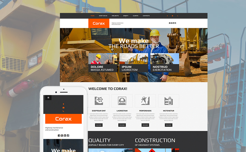 Templates Moto CMS 3 Flexível para Sites de Industrial №54635 New Screenshots BIG