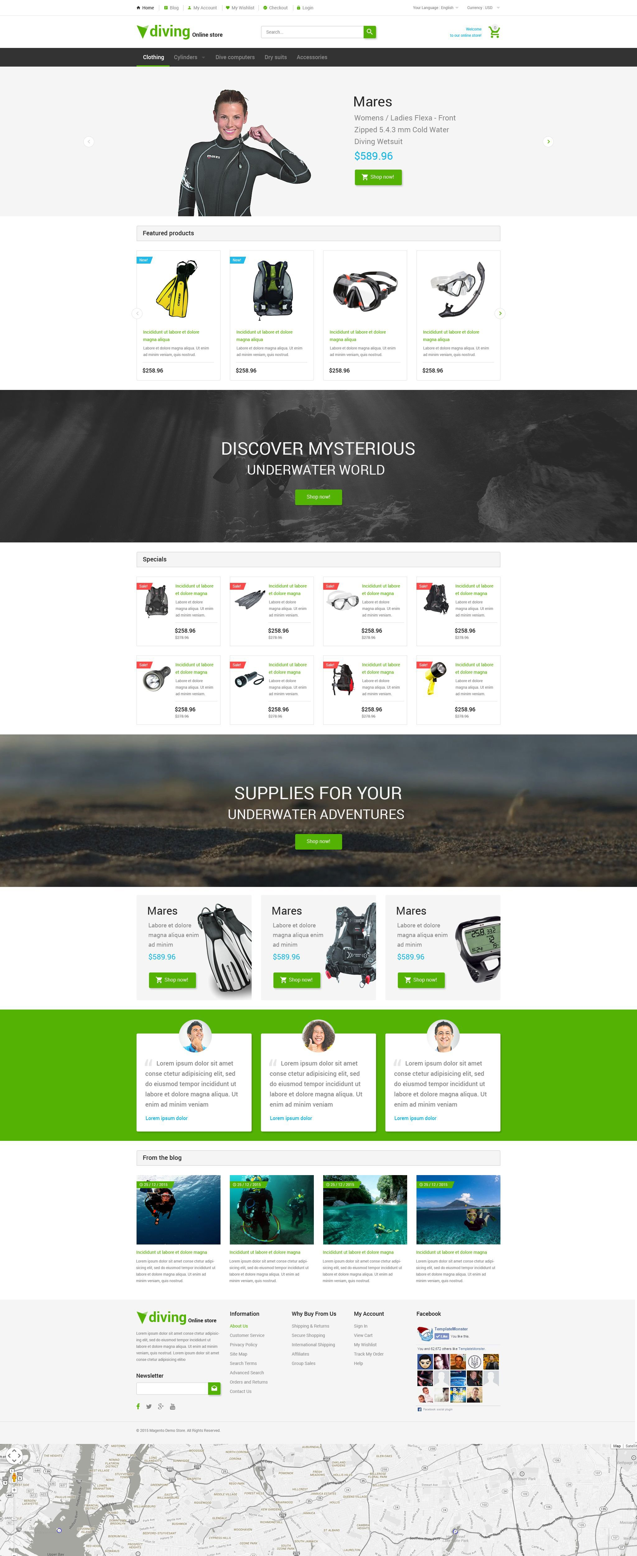 The Diving Shop Magento Design 54661, one of the best Magento themes of its kind (sport, most popular), also known as diving shop Magento template, sport Magento template, aqualung Magento template, submarine Magento template, oxygen Magento template, flippers Magento template, mask Magento template, reef Magento template, diving-suit Magento template, photography Magento template, camera Magento template, training Magento template, services Magento template, trainer Magento template, ring-buoy Magento template, life-guard Magento template, subscription Magento template, rules Magento template, travel Magento template, equipment and related with diving shop, sport, aqualung, submarine, oxygen, flippers, mask, reef, diving-suit, photography, camera, training, services, trainer, ring-buoy, life-guard, subscription, rules, travel, equipment, etc.