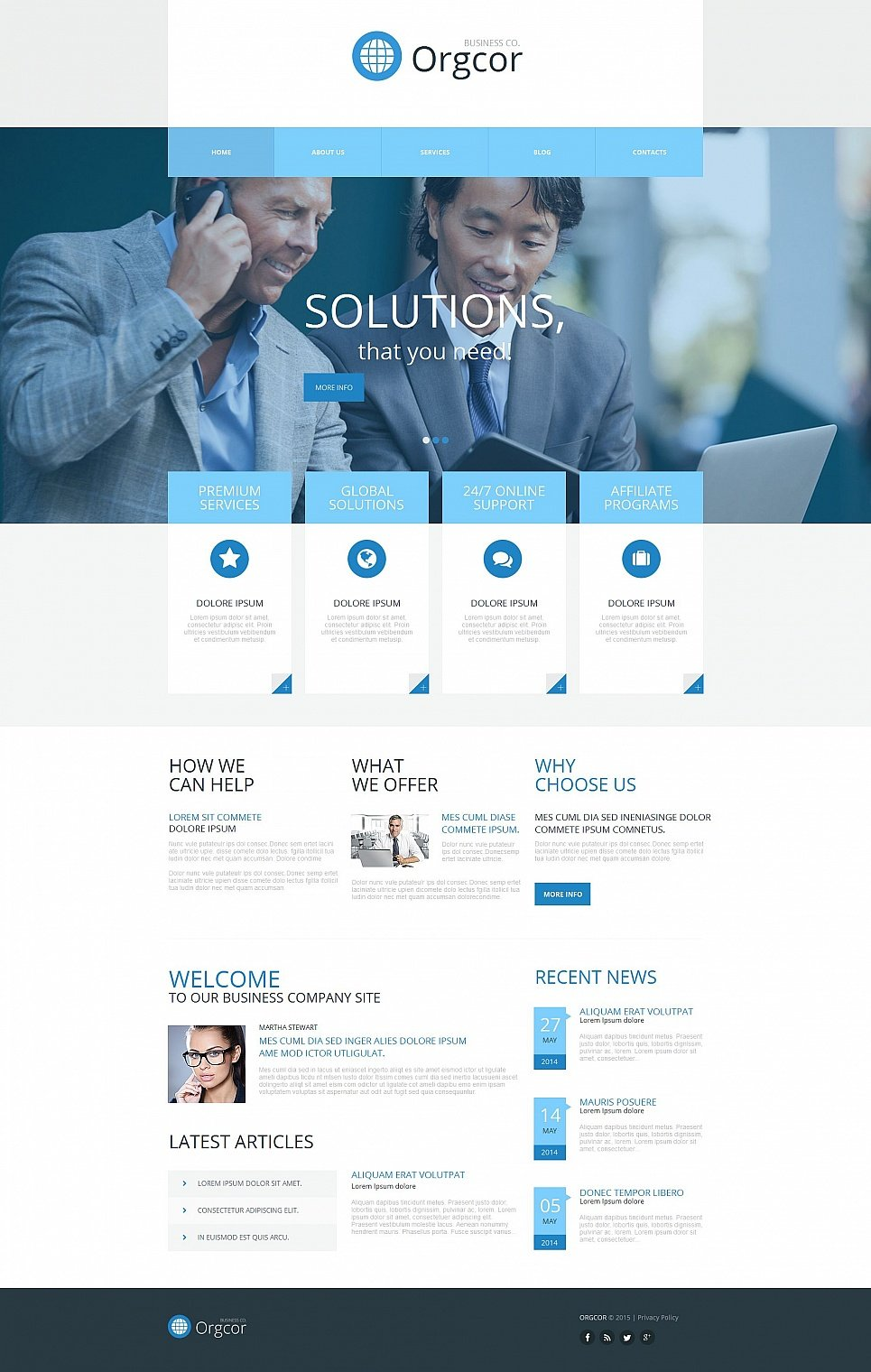Blue and white template for business website
