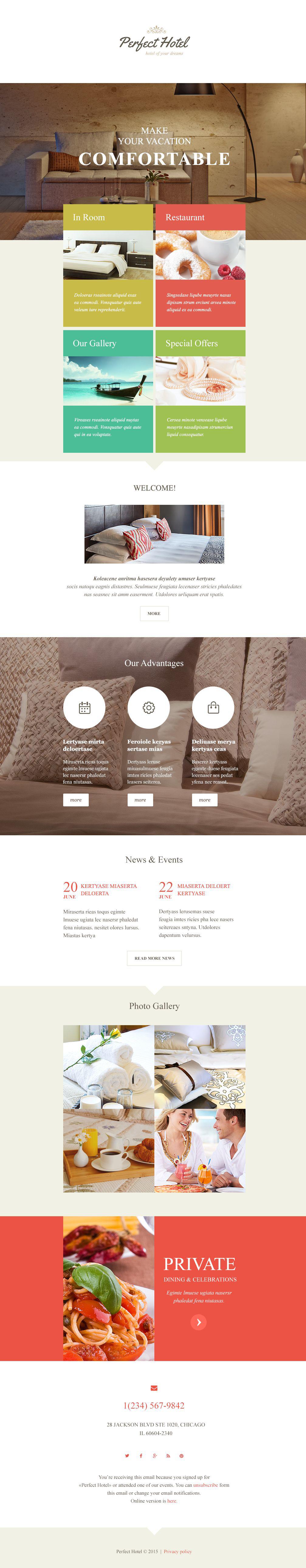 Адаптивний Шаблон E-mail розсилки на тему готелі №54694 - скріншот
