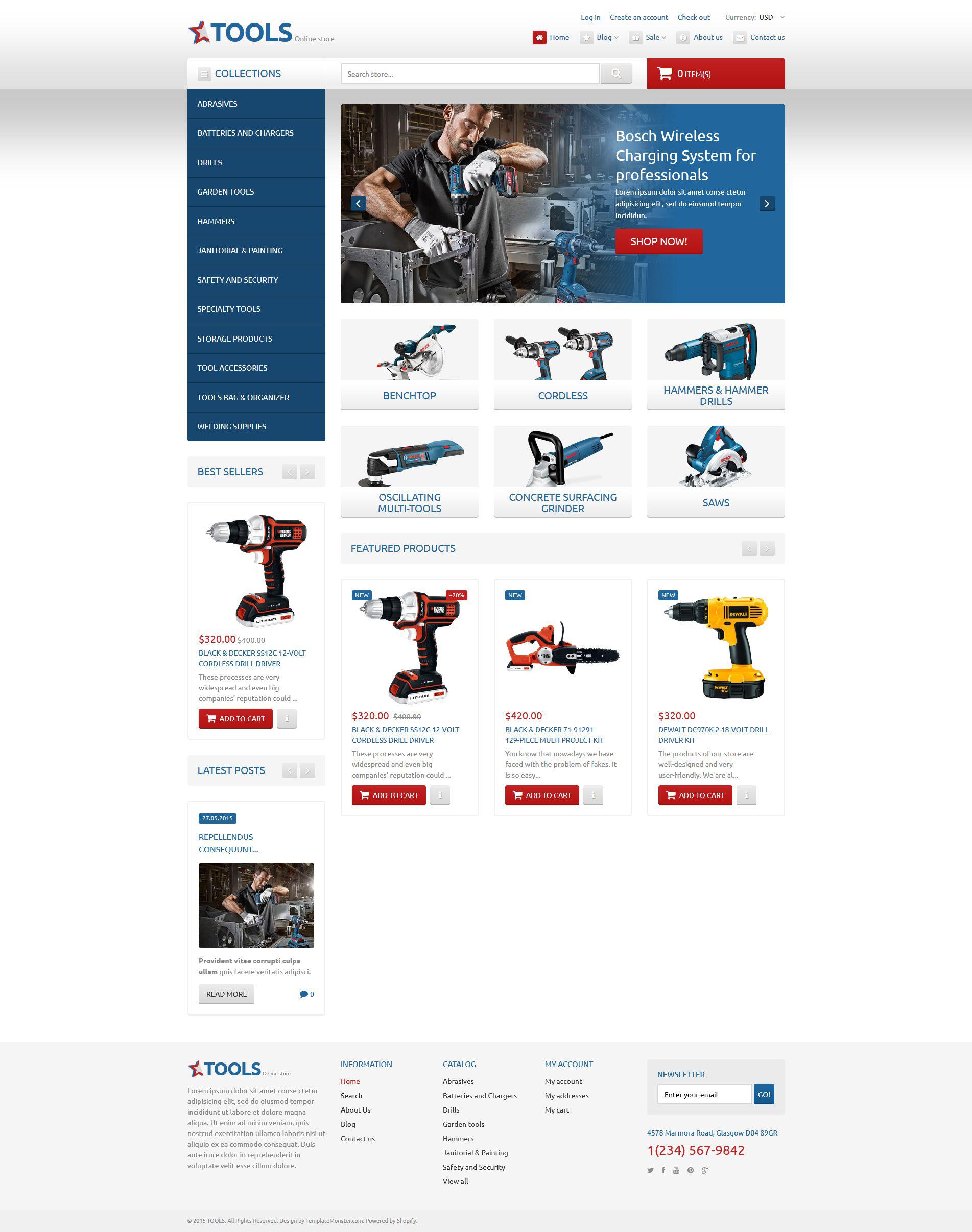 Адаптивный Shopify шаблон №54600 на тему инструменты и оборудование