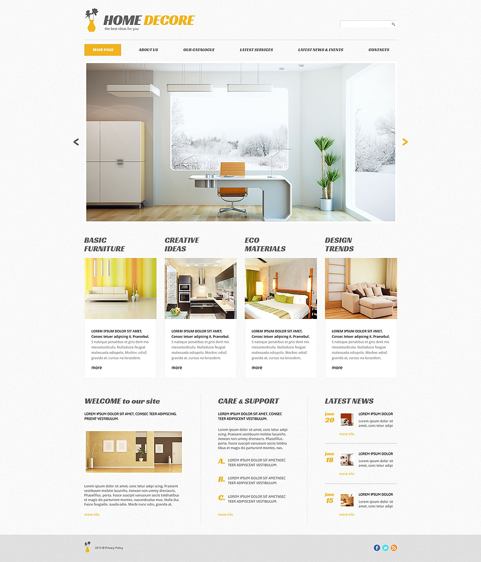 Адаптивный шаблон сайта на тему домашний декор #54644