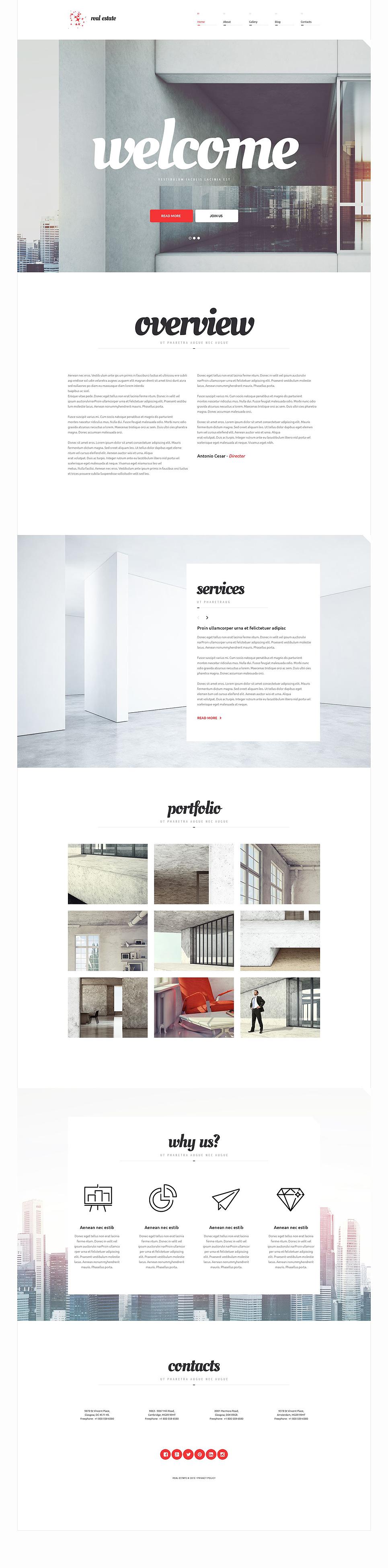 Адаптивный шаблон сайта на тему агентство недвижимости #54654