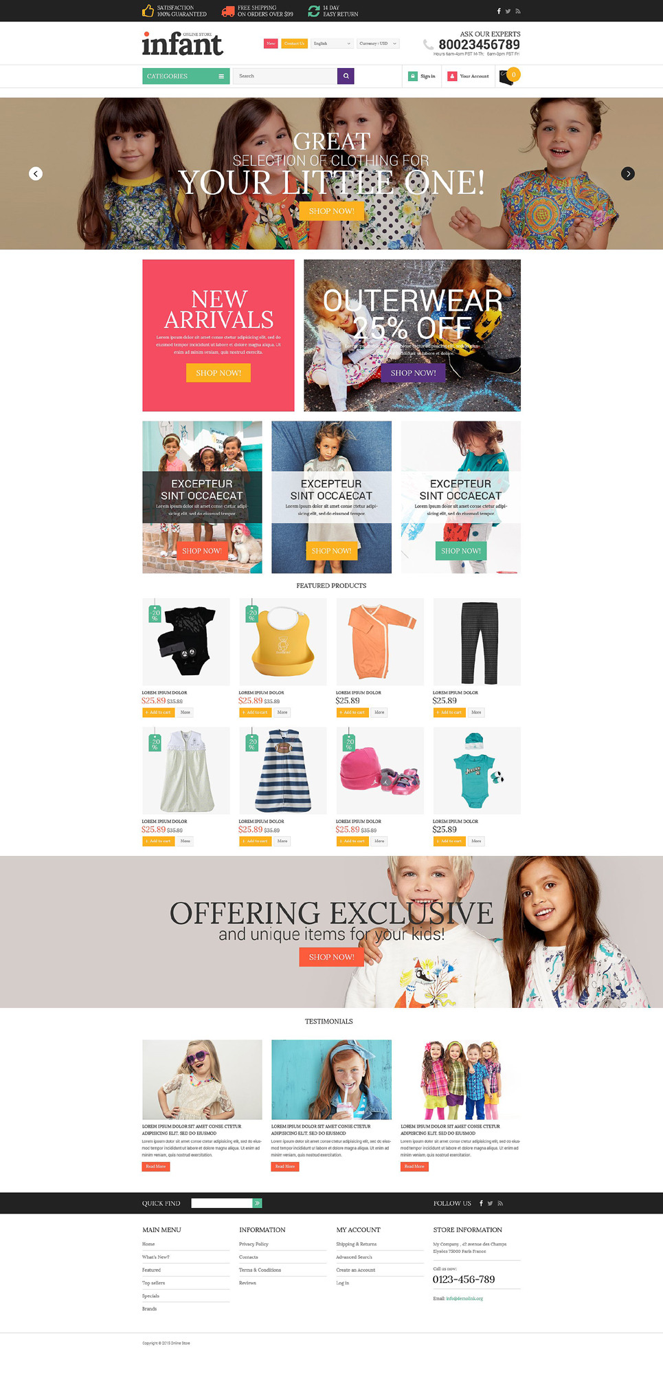 Baby Store OsCommerce Template New Screenshots BIG