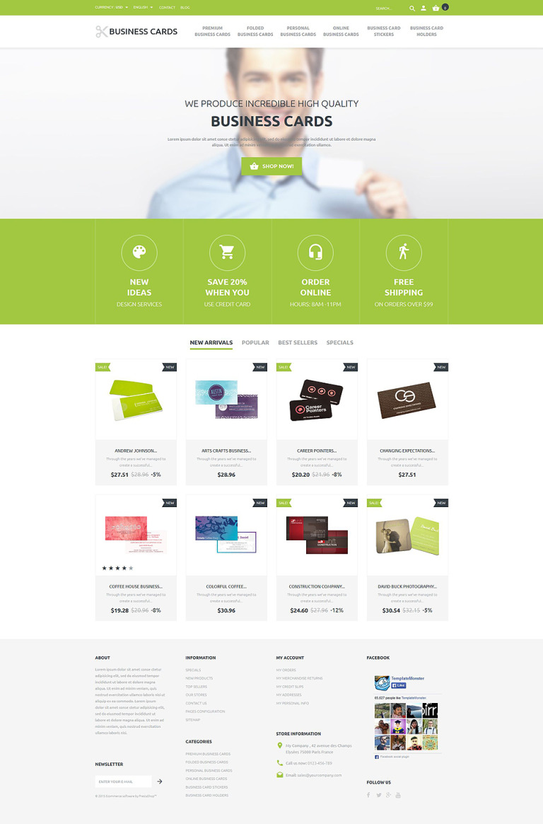 Business Cards Store PrestaShop Theme New Screenshots BIG