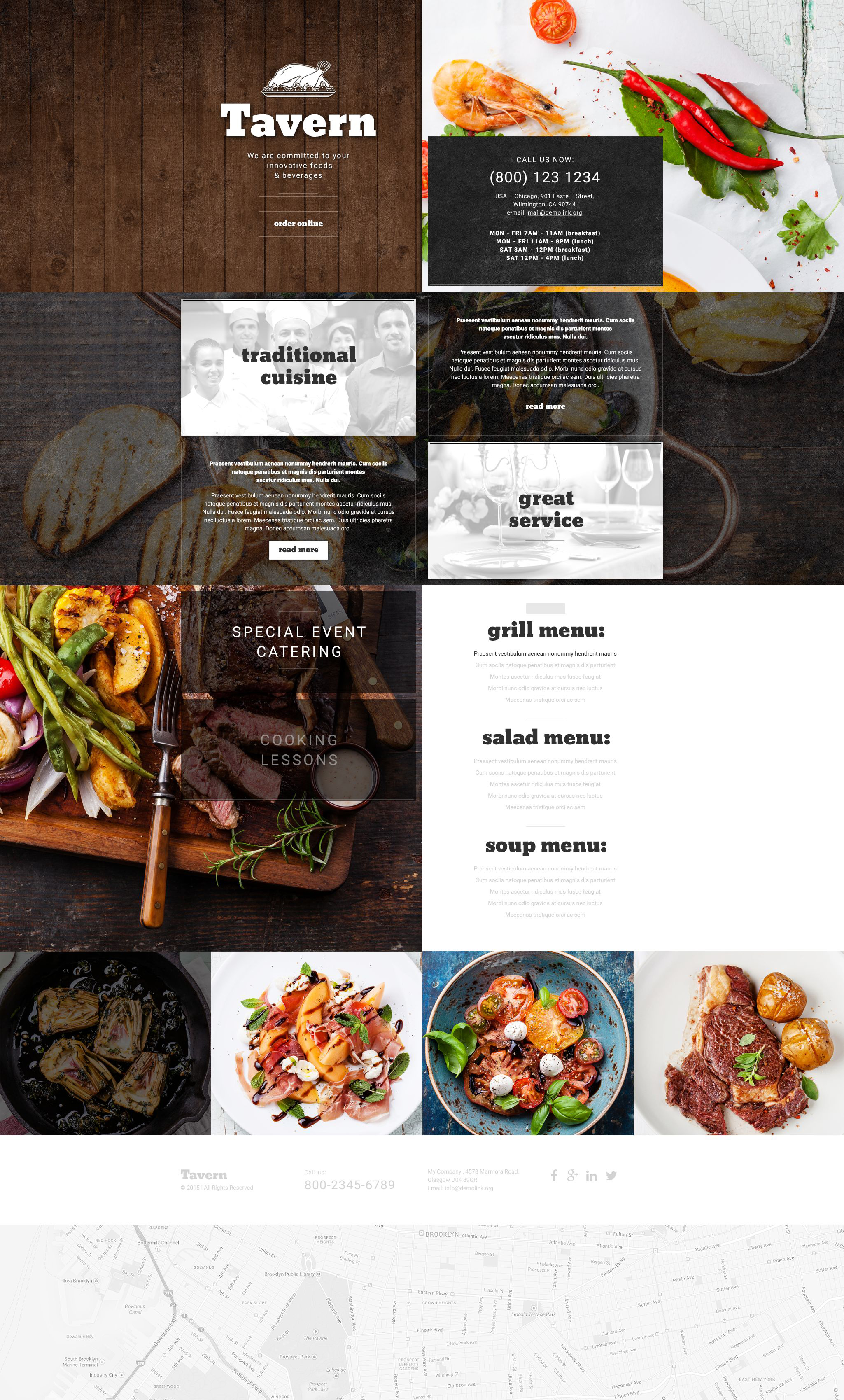 cafe and restaurant responsive landing page template 54696
