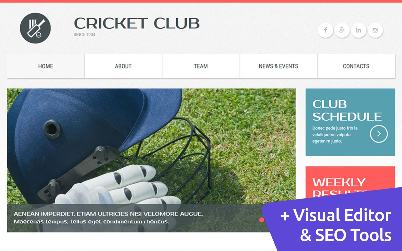 """Cricket Club"" Responsive Moto CMS 3 Template №54638"