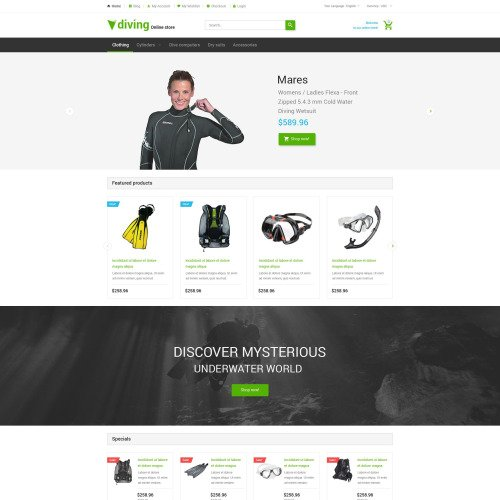 Diving  - Magento Template based on Bootstrap