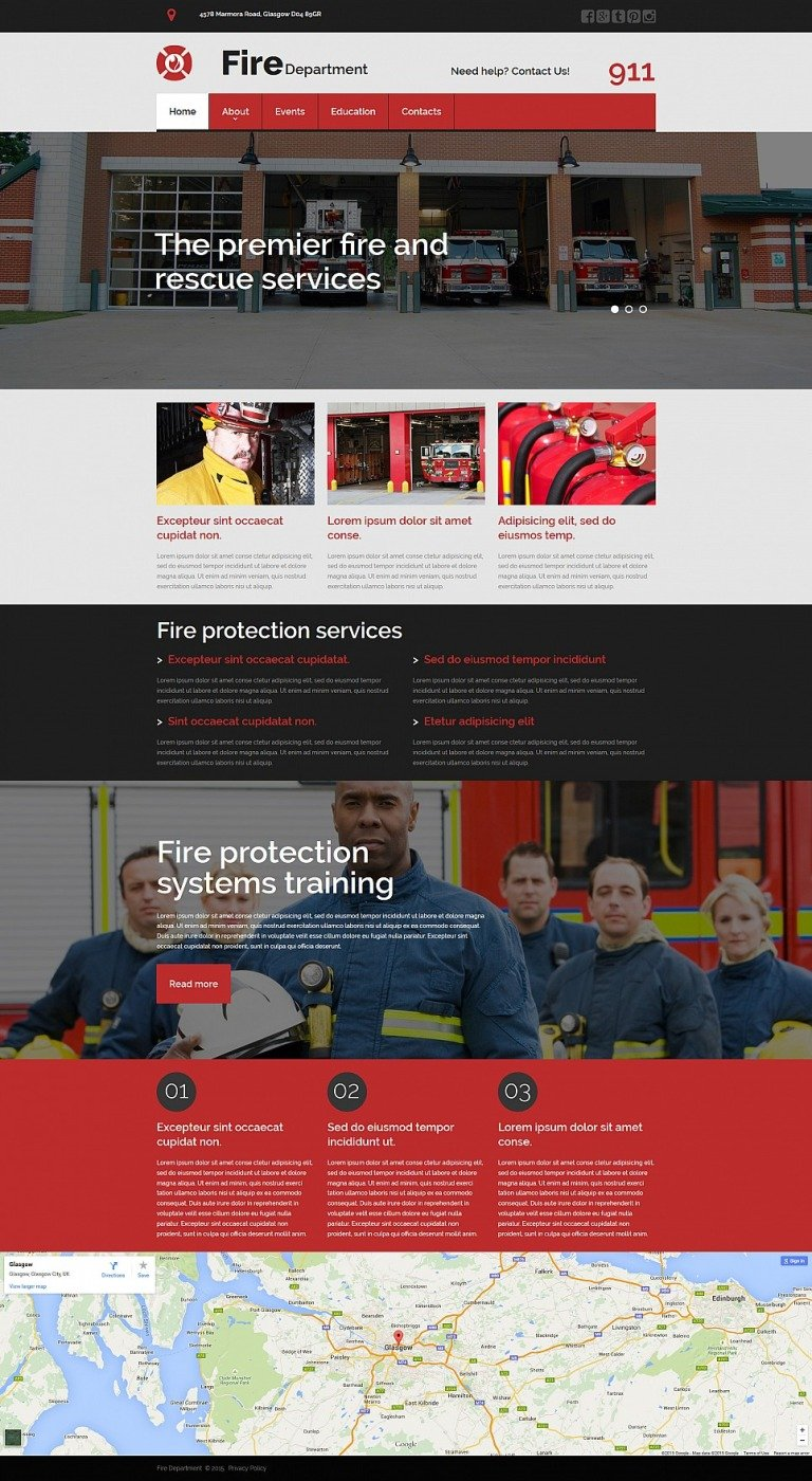 Fire Department Responsive Moto CMS 3 Template New Screenshots BIG
