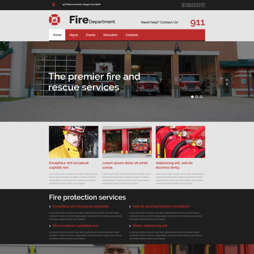 Fire Department - MotoCMS 3 Template based on Bootstrap