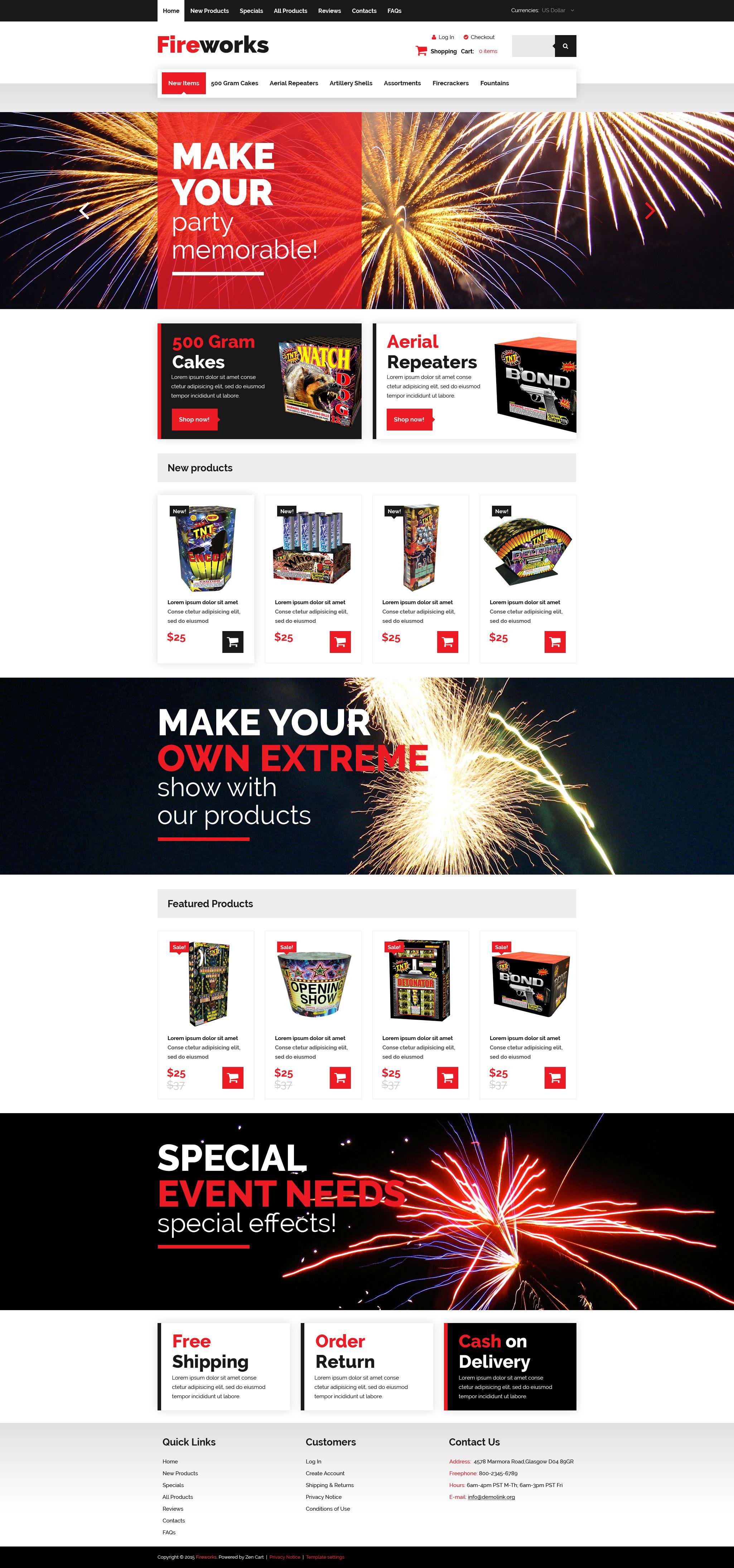 """Fireworks Shop"" Responsive ZenCart template №54620"