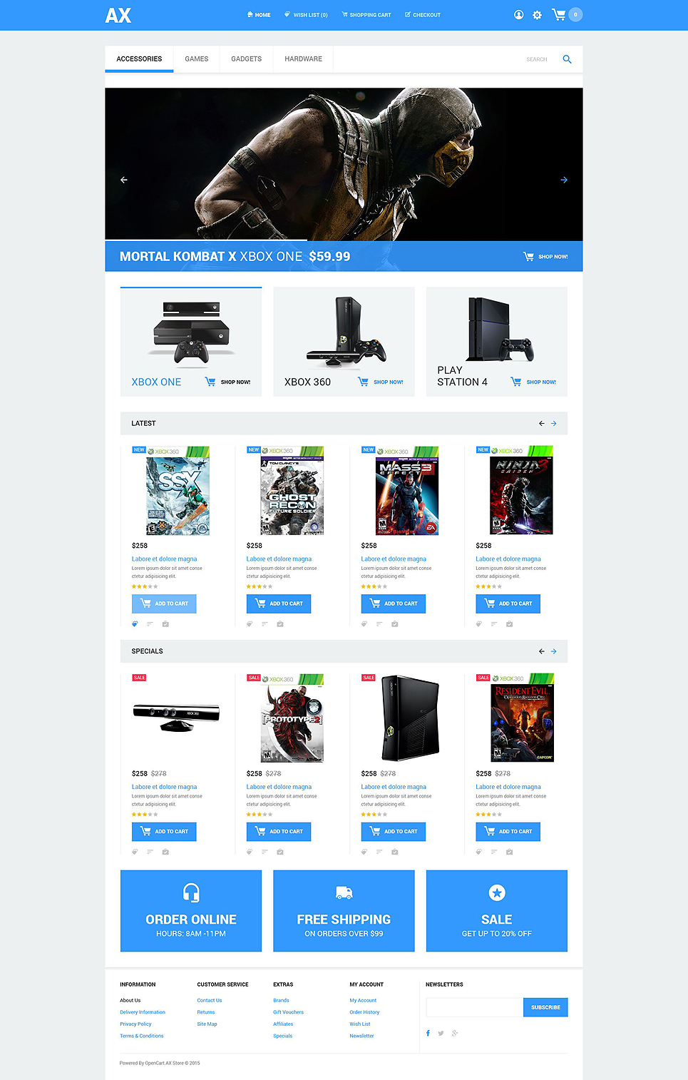 Video games opencart template for Opencart template editor