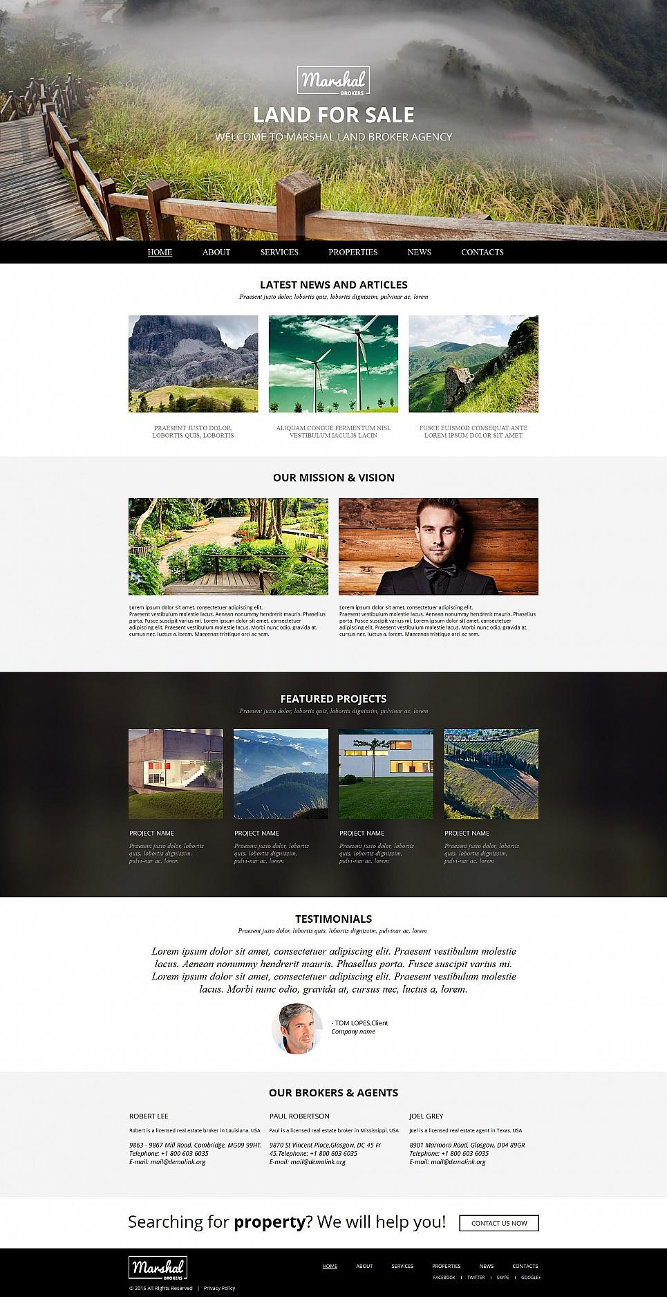 land broker moto cms html template 54682