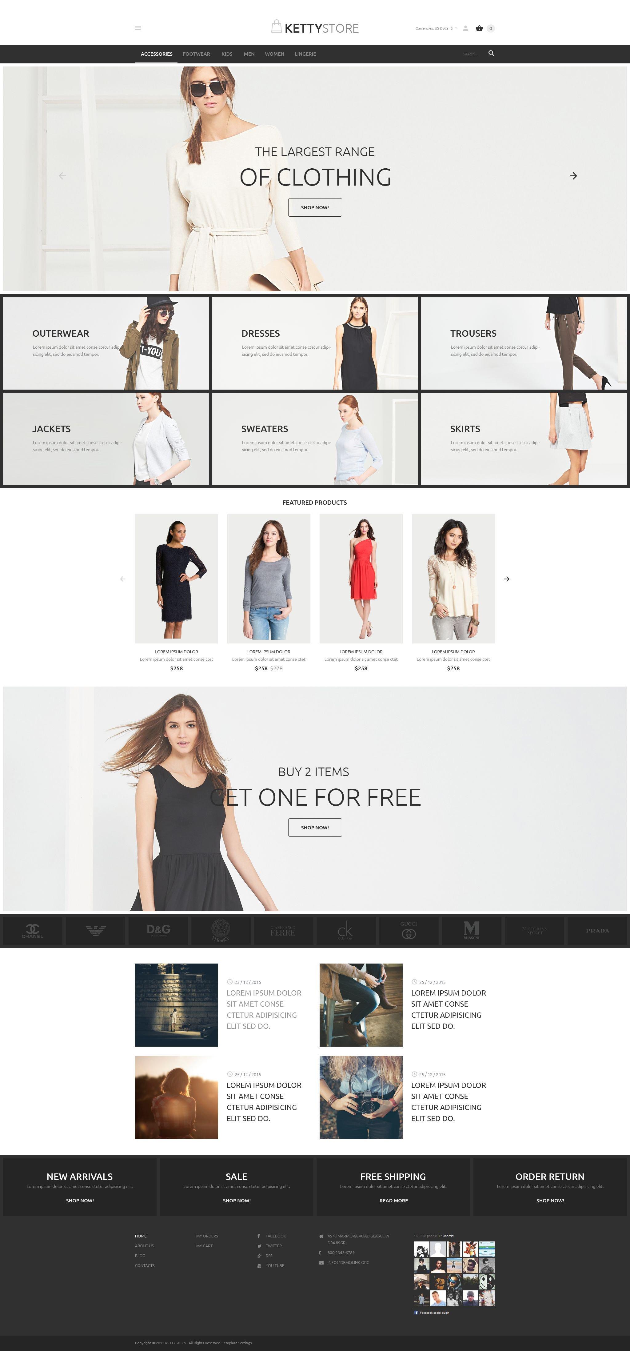 """""""Magasin de vêtements en ligne"""" thème VirtueMart  #54622"""