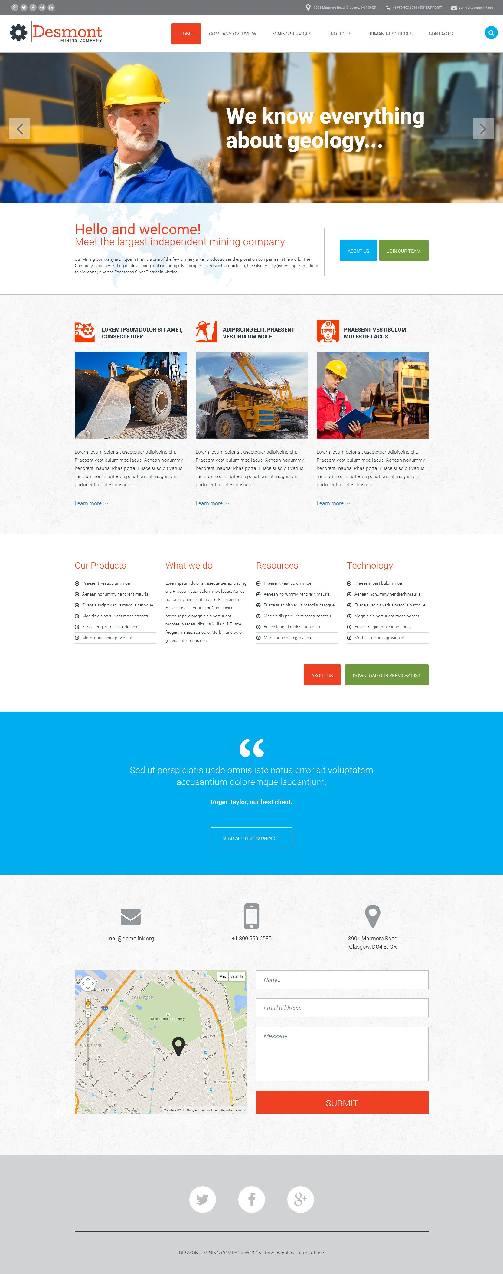 Mining Company Website Template