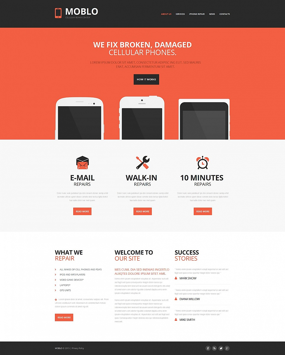 Mobile Repair Service Moto CMS HTML Template #54663