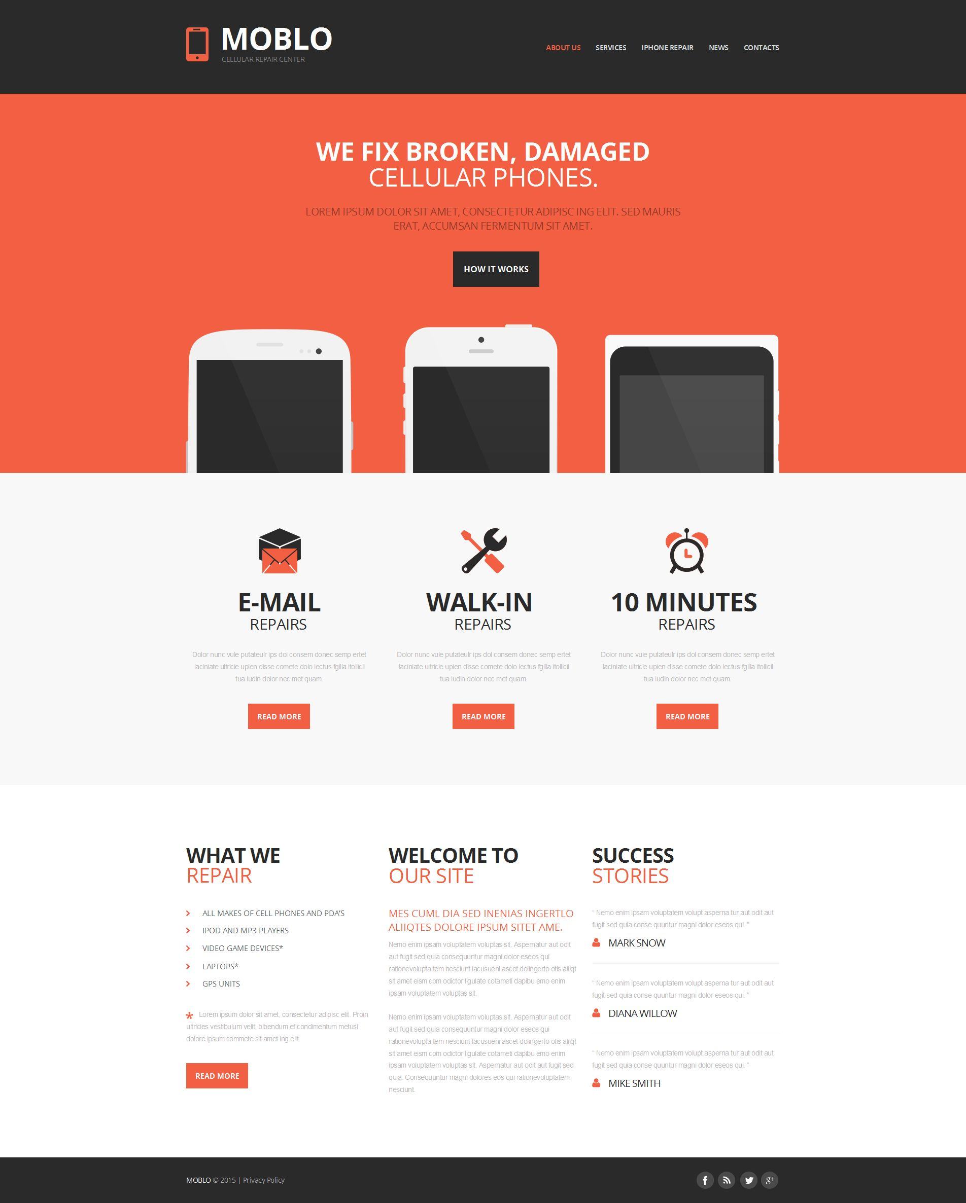 Mobile Repair Service Moto CMS HTML Template - Mobile friendly ebay template