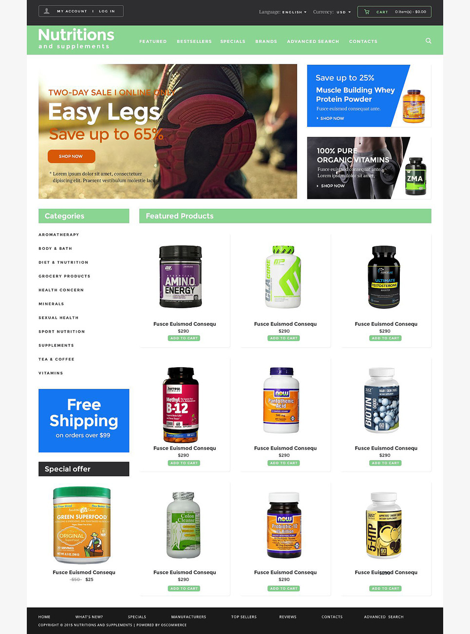 Nutrition Warehouse OsCommerce Template New Screenshots BIG