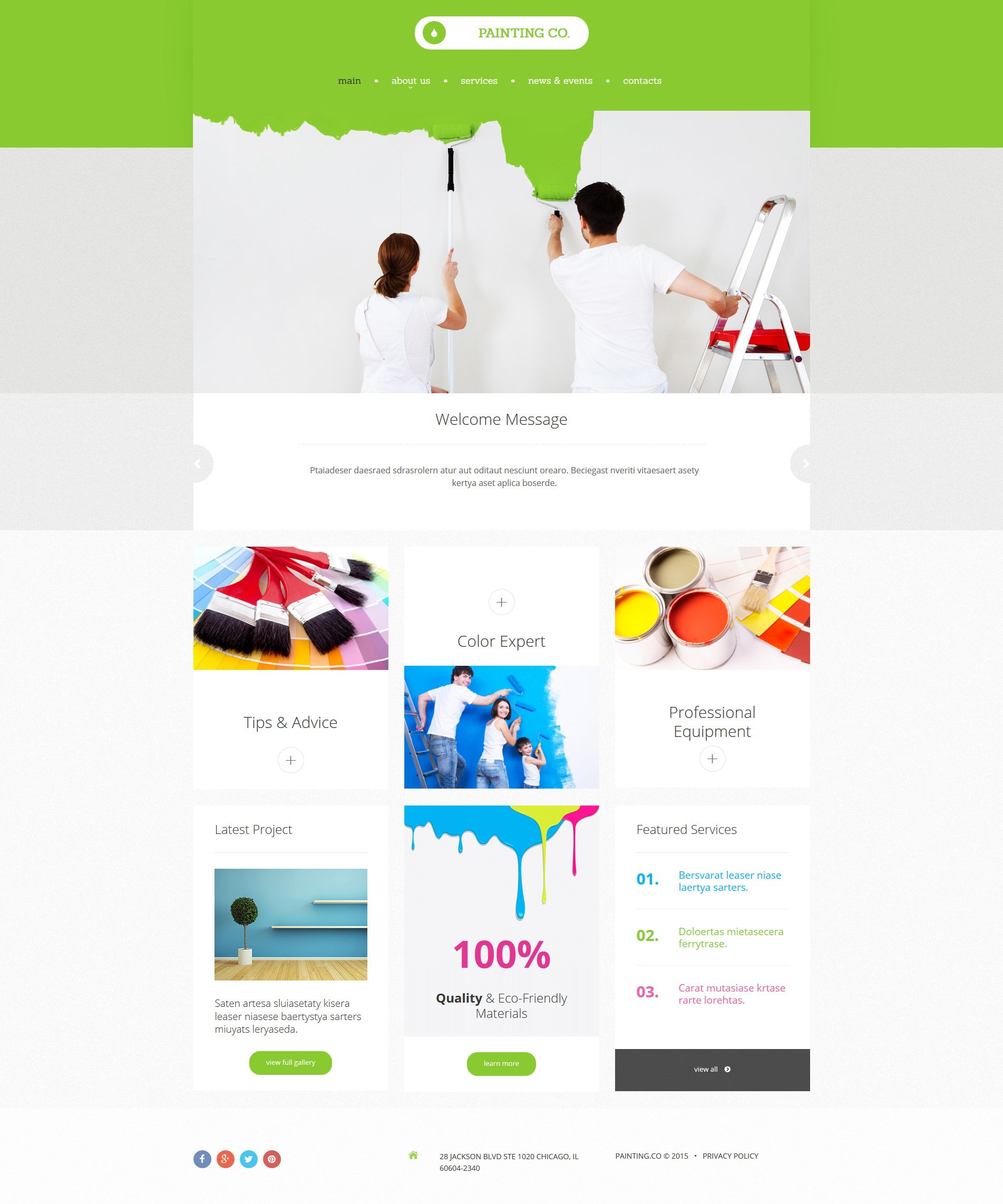 Painting Company Website Builder | Responsive Moto CMS 3 Template ...