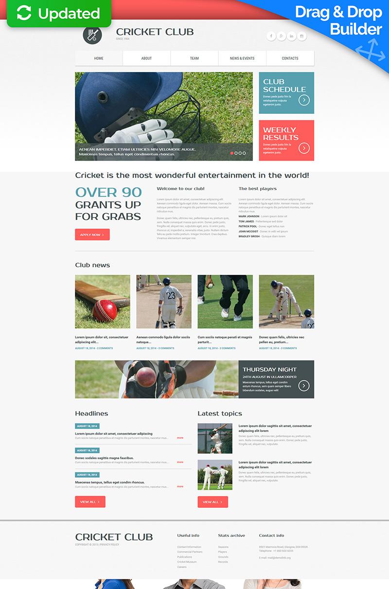 Plantilla Moto CMS 3 Responsive para Sitio de Críquet #54638