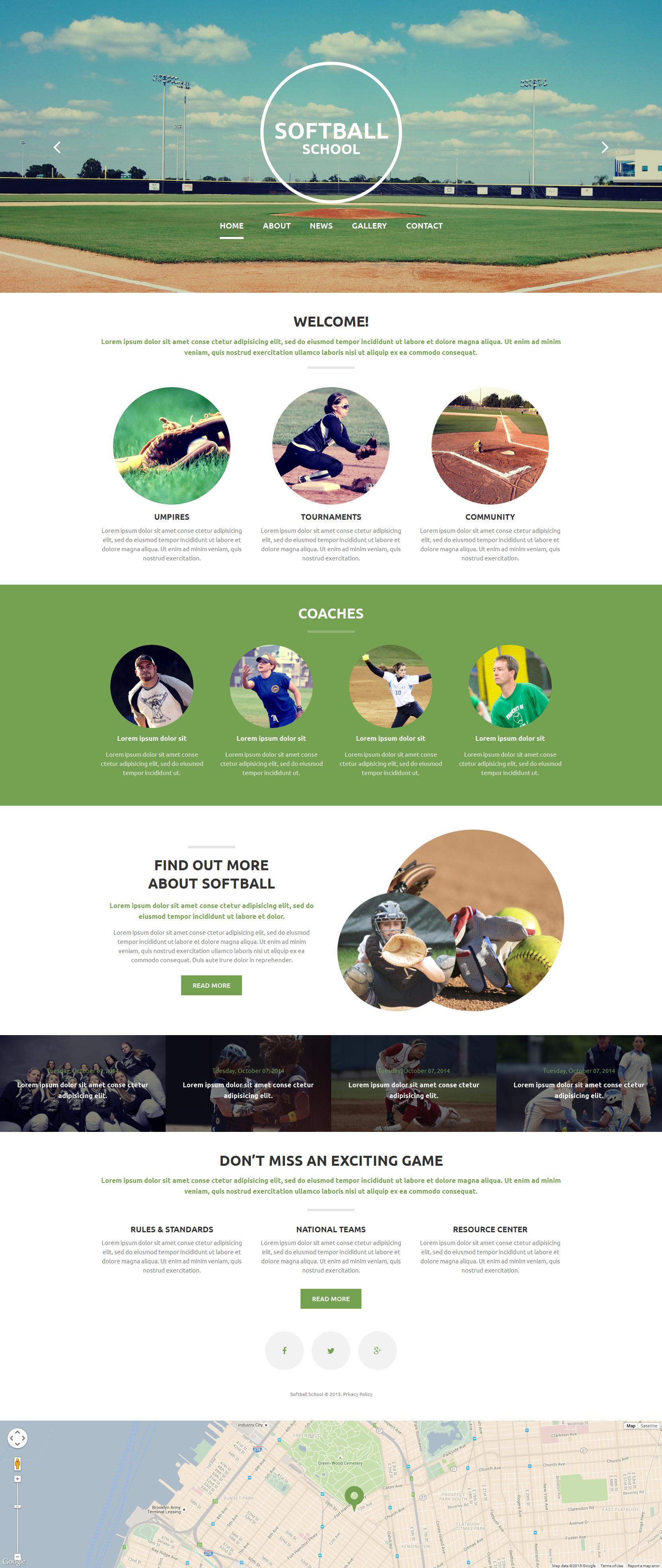 "Plantilla Web ""Softball School"" #54699"