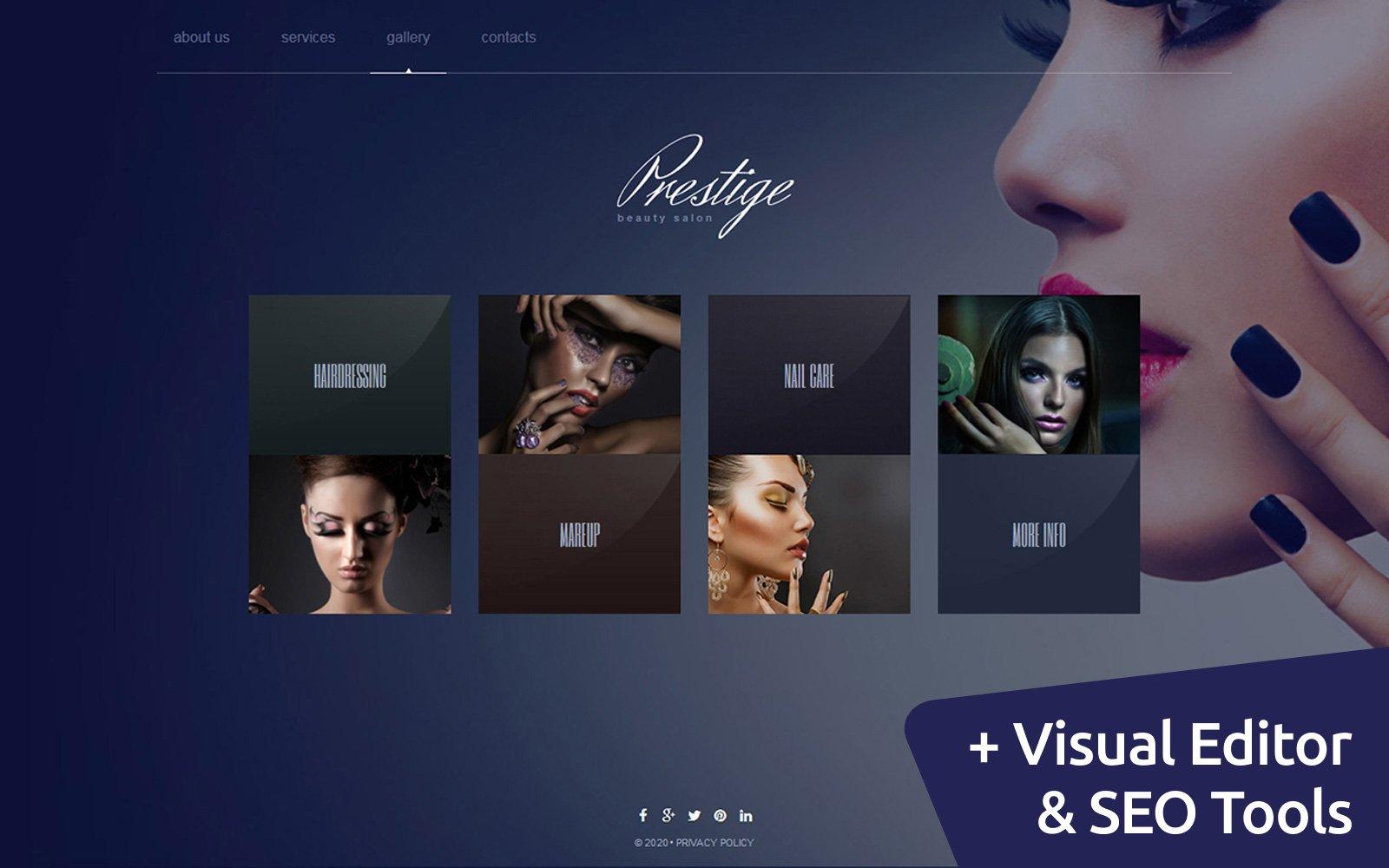 """""""Prestige - Beauty Salon"""" modèle Moto CMS 3 adaptatif #54624"""
