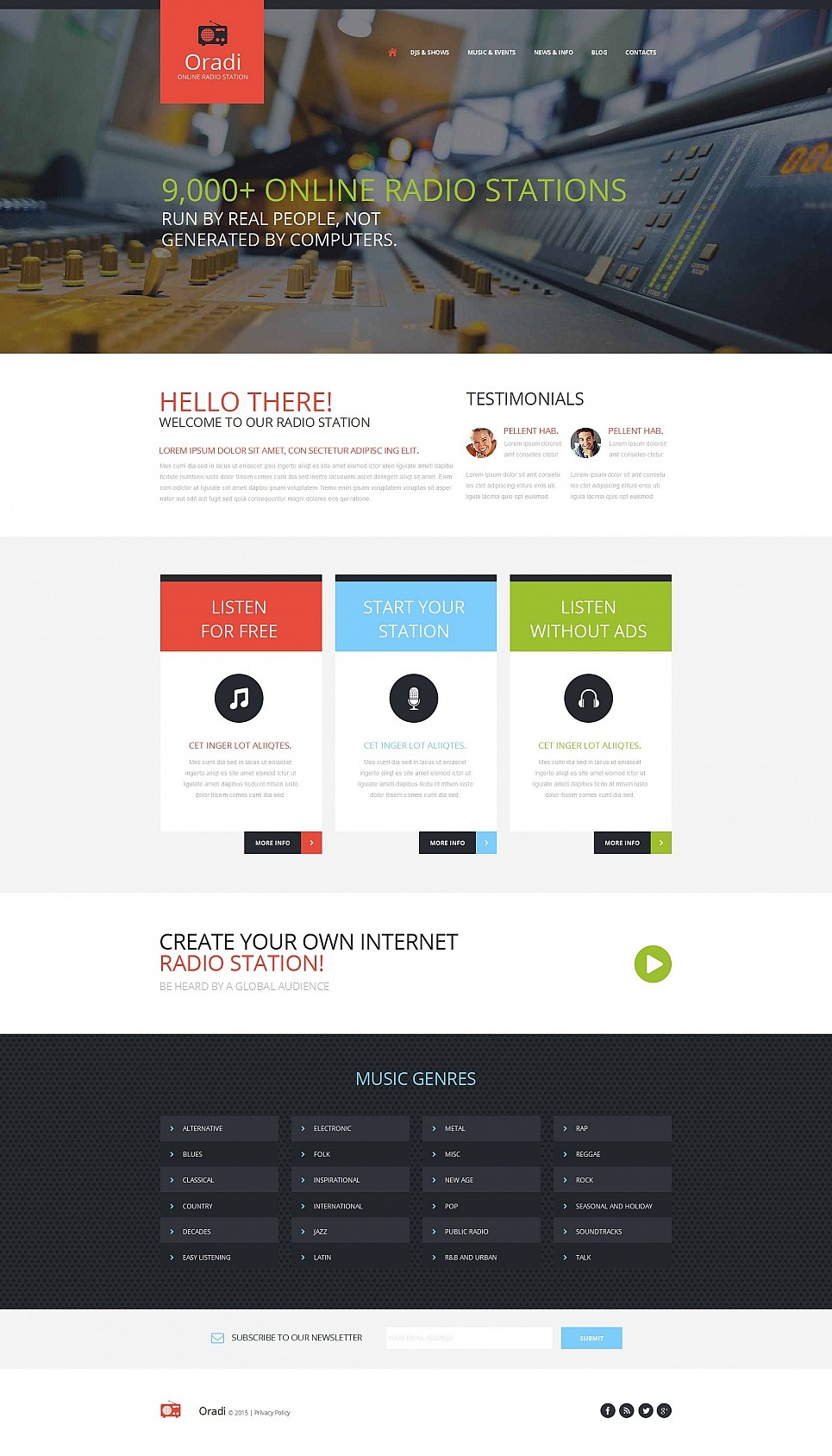 Radio Website Moto CMS HTML Template New Screenshots BIG