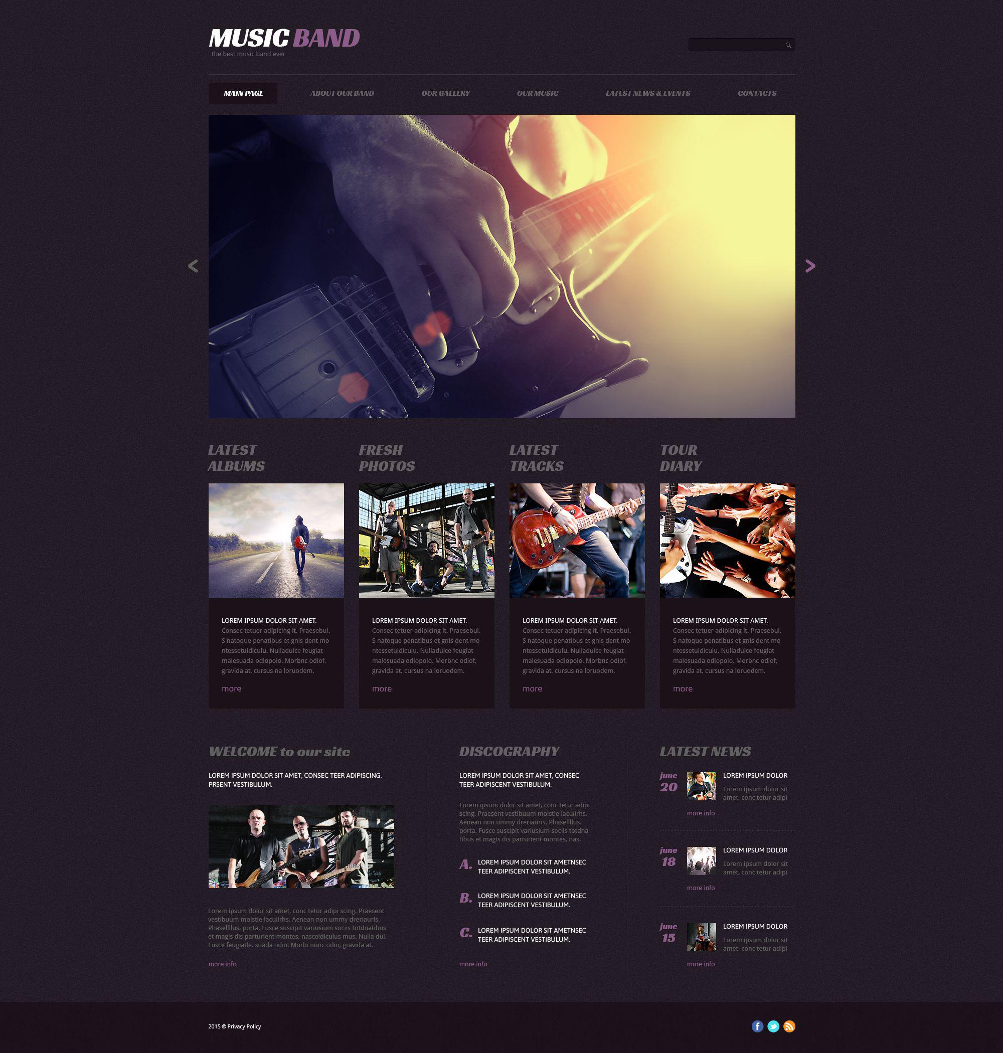 Responsive WordPress thema over Muziekgroup №54646 - screenshot