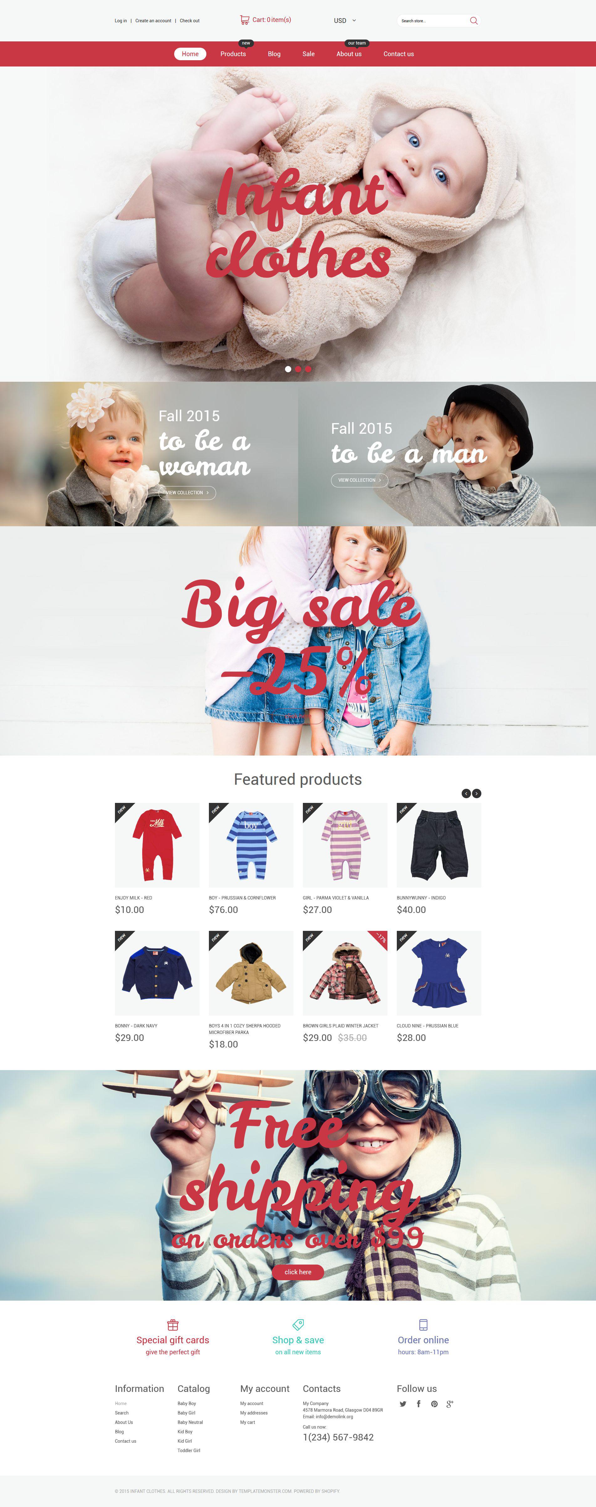 Responsywny szablon Shopify Sklep odzieży dla niemowląt #54695