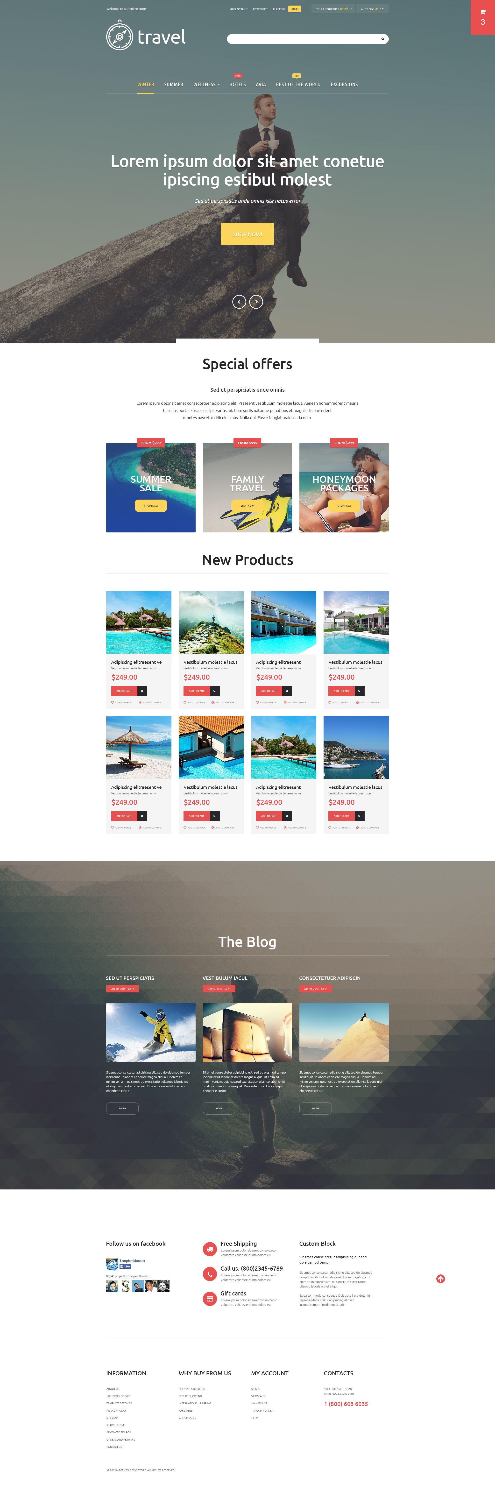 Reszponzív Travelers' Paradise Magento sablon 54689